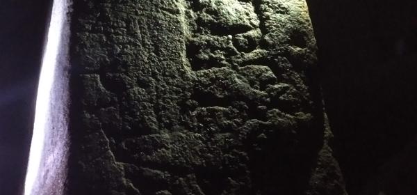 a mason's mark on a table in Gilmerton Cove