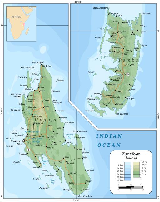a map of the Zanzibar archipelago