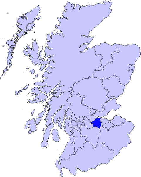 a map of Scotland with West Lothian Council highlighted in dark blue
