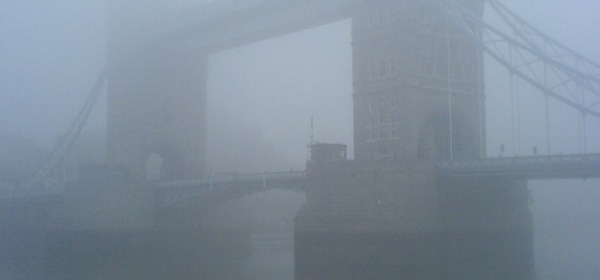 fog over the tower bridge, London