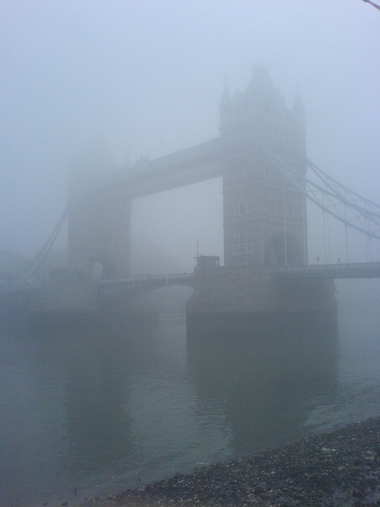 fog over the tower bridge, London