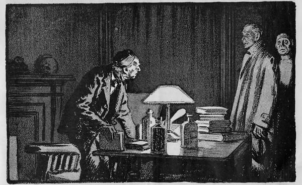 A line drawing of three men standing over a table stacked with books.