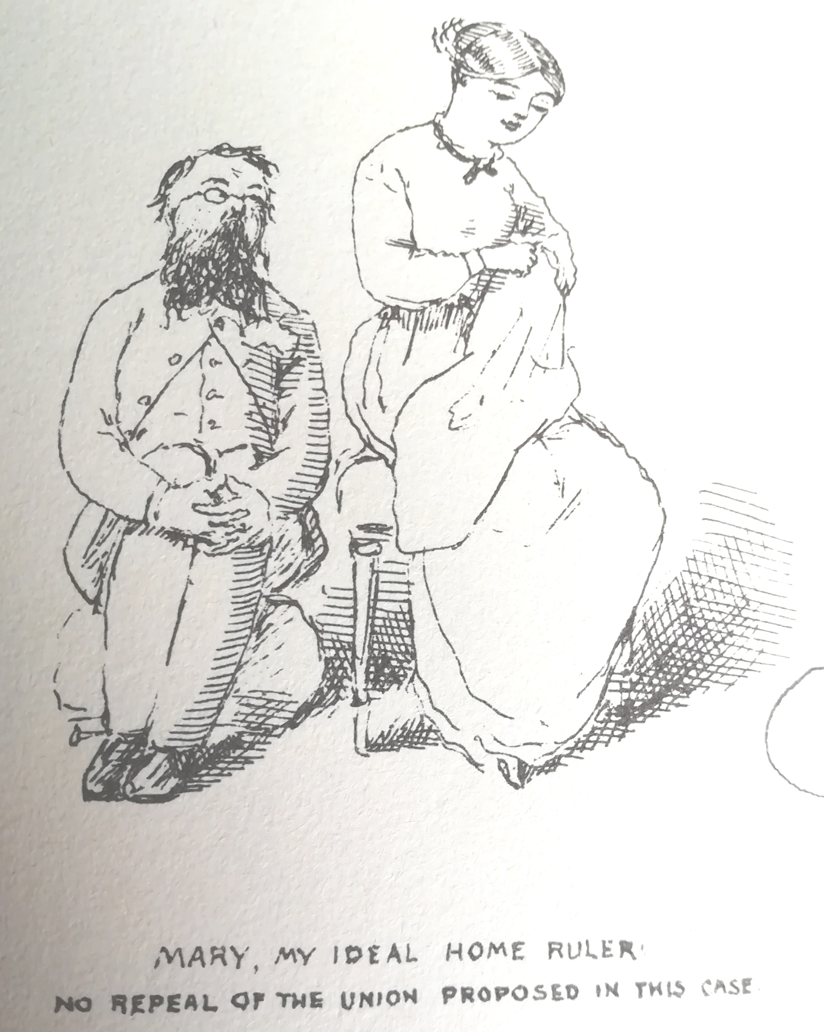 Line drawing of Charles and Mary Doyle by Charles Altamont Doyle