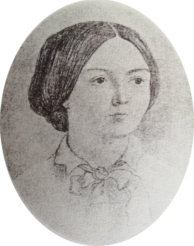 A line drawing of Mary Foley Doyle by Dicky Doyle