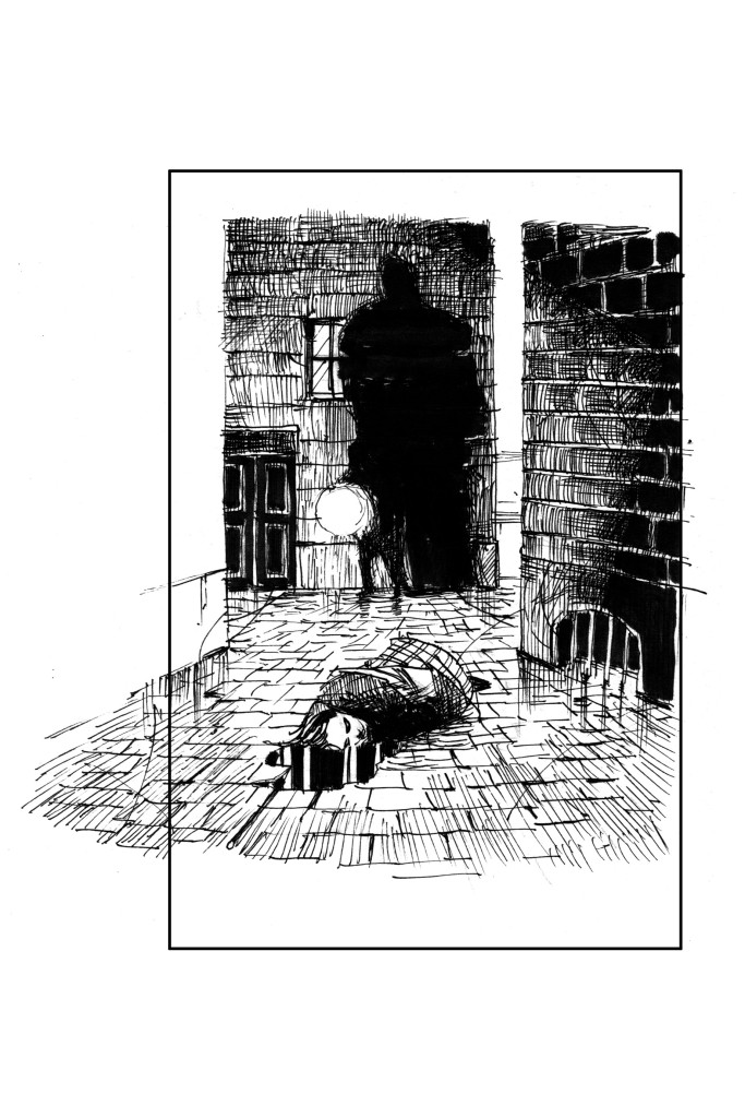 A black and white drawing of a female murder victim lying in an alley, with a shadowy figure standing over her.