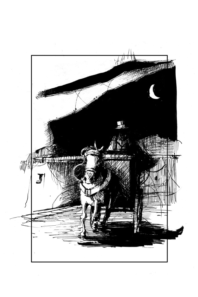 A black and white line drawing of a horse-driven hansom cab and driver at nighttime.