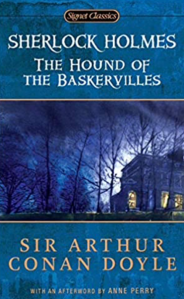 The cover of the Hound of the Baskervilles by Sir Arthur Conan Doyle. A blue background with a picture of a house at night obscured by trees.