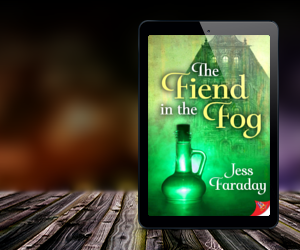 An ebook reader with the cover of Jess Faraday's Fiend in the Fog: yellow lettering on a bright green background with a flask of bright green liquid.
