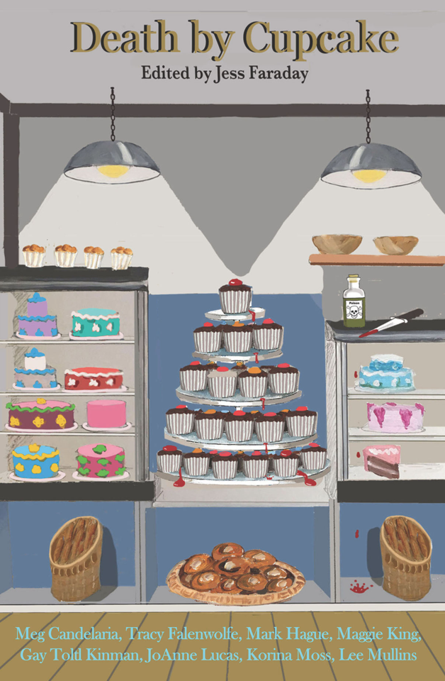 An animated cake shop display with a tower of cupcakes flanked by shelves with birthday cakes and other pastries.